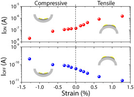 Mechanical strain induced changes in electrical characteristics of flexible, non-volatile ferroelectric OFET based memory