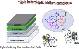 Heteroleptic iridium (III) complexes with three different ligands:Unusual triplet emitters for light-emitting electrochemical cells
